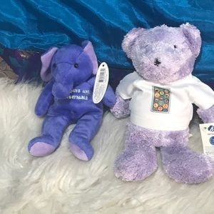 NWT tags 2 Girl's Scouts plush bear elephant 8-in
